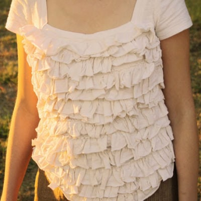 Ruffled corset t-shirt