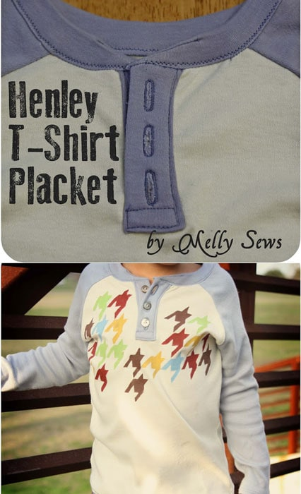 How to sew a button placket on any shirt - great tutorial for henleys!