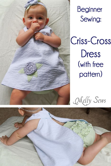 Easy to sew Criss-Cross Dress with free pattern and tutorial by Melly Sews