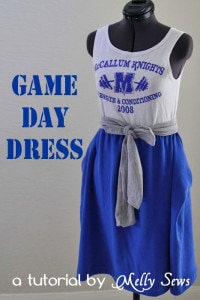 Tutorial for this cute Game Day dress with a square draped skirt by Melly Sews