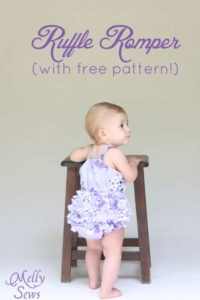 Adorable ruffled bottom romper tutorial with free pattern by Melly Sews