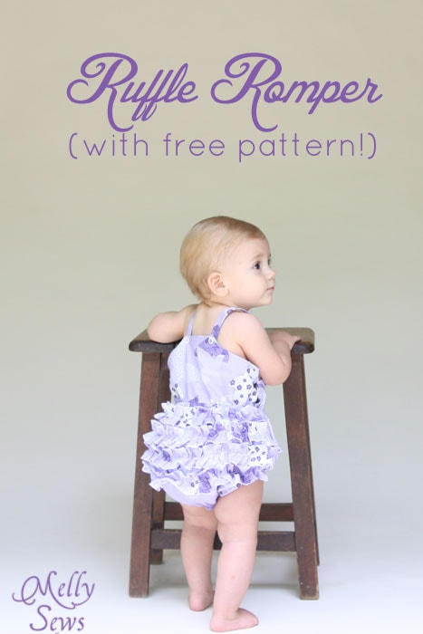 Adorable ruffled bottom romper tutorial with free romper pattern by Melly Sews