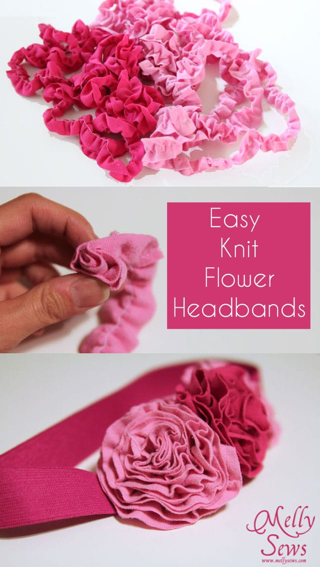 How to make a fabric flower tutorial - use knit scraps - Melly Sews