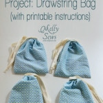Easy Beginner Sewing Project: Drawsting Bag with printable instructions