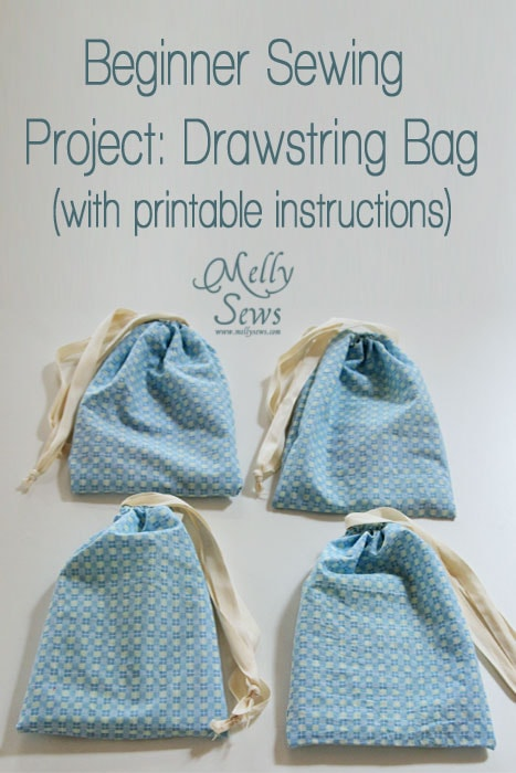 Beginner Sewing Projects A Drawstring Bag Tutorial Melly Sews