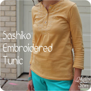 Sashiko Embroidery on a t-shirt from Melly Sews - free pattern and tutorial