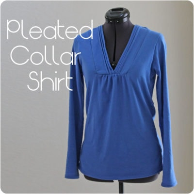 Pleated Collar Women's T-Shirt Shirt Tutorial with Free Pattern