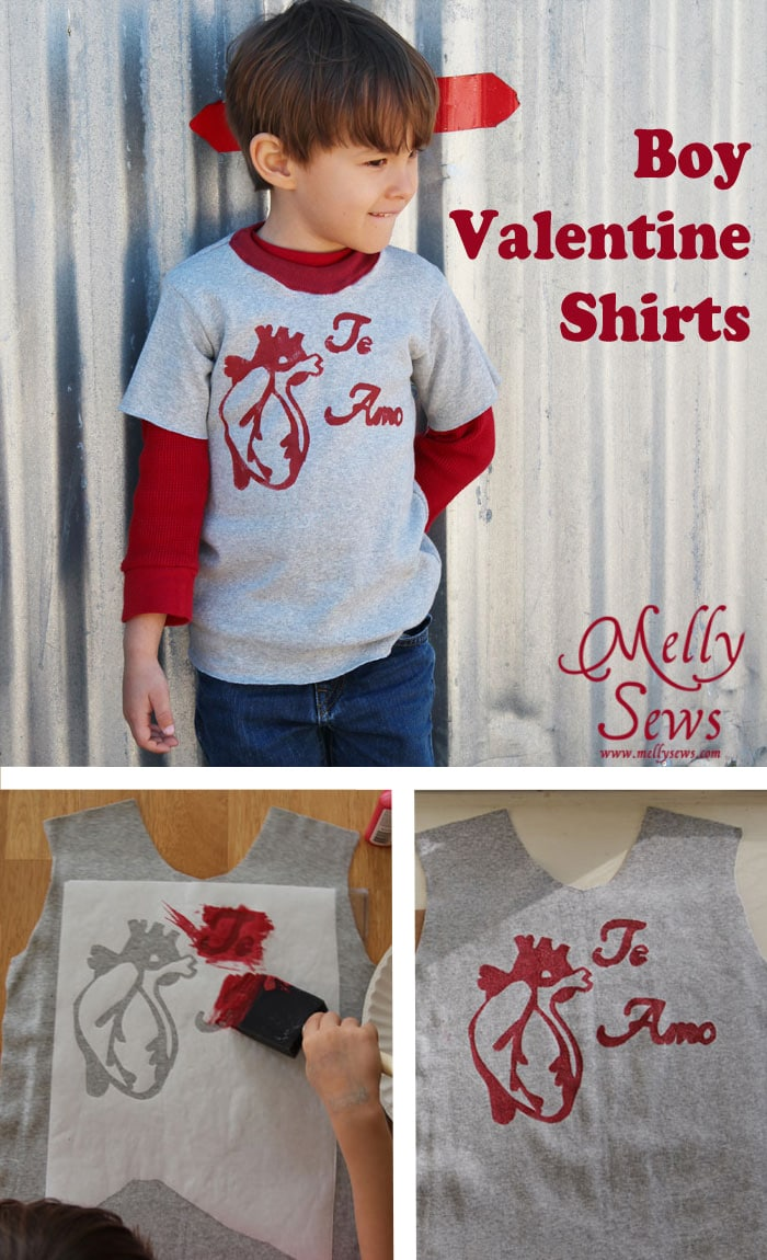 Make a Boy's Valentine Shirt with this FREE graphic to stencil - T-shirt tutorial - Melly Sews
