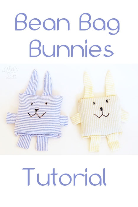 Quick and cute Easter bean bag bunny tutorial that can be made with scraps - https://mellysews.com