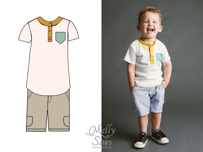 Blank Slate Patterns Spring Sewing Patterns: The Hipster Henley and Clean Slate Shorts