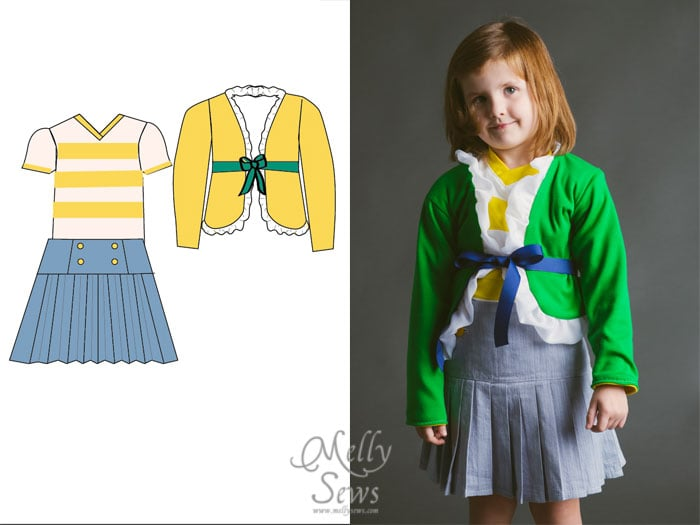 Blank Slate Patterns Spring Sewing Patterns: The Ruffled Cardigan, Vintage V-Neck and Schoolday Skirt
