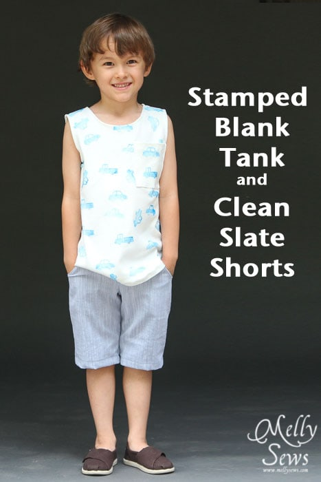 Stamped Fabric Blank Tank and Clean Slate Shorts patterns by Blank Slate Patterns sewn by Melly Sews
