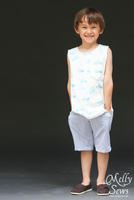 Boys tank top and shorts sewing patterns by Blank Slate Patterns