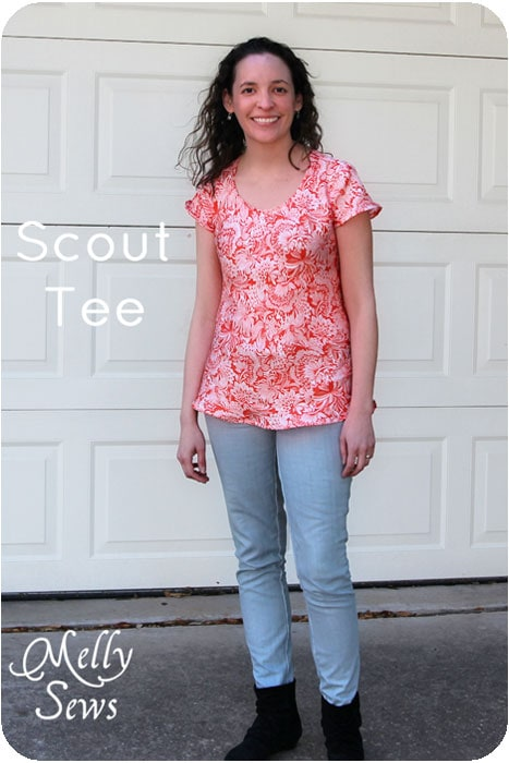 Scout Woven Tee by Grainline Studio, silk t-shirt sewn by Melly Sews