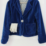 Vintage inspired blue velvet blazer, by Melly Sews