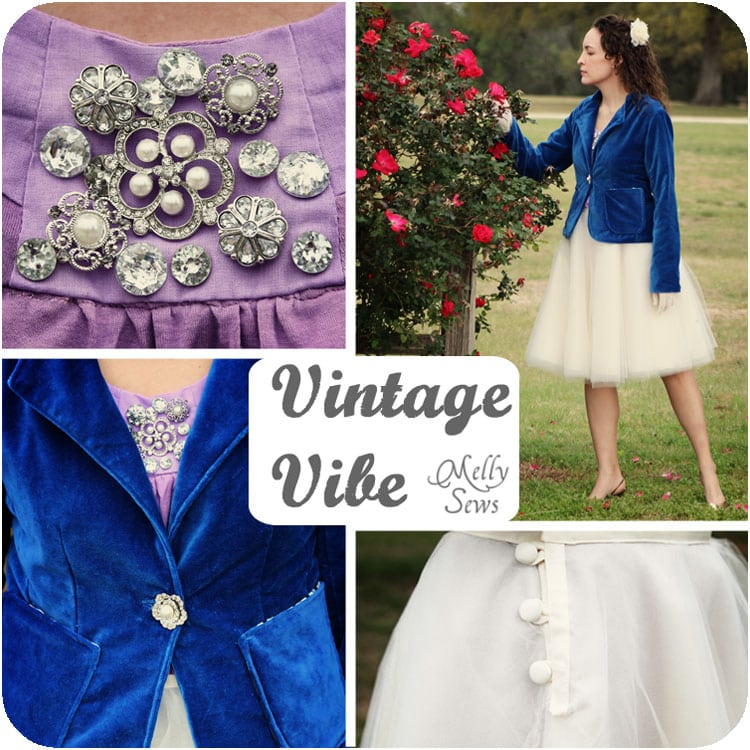 Vintage inspired blue velvet blazer, Rose T-shirt and Tulle Skirt by Melly Sews