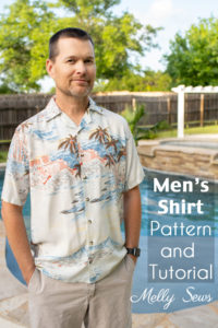 Sew a men's shirt - Man in DIY Hawaiian style shirt