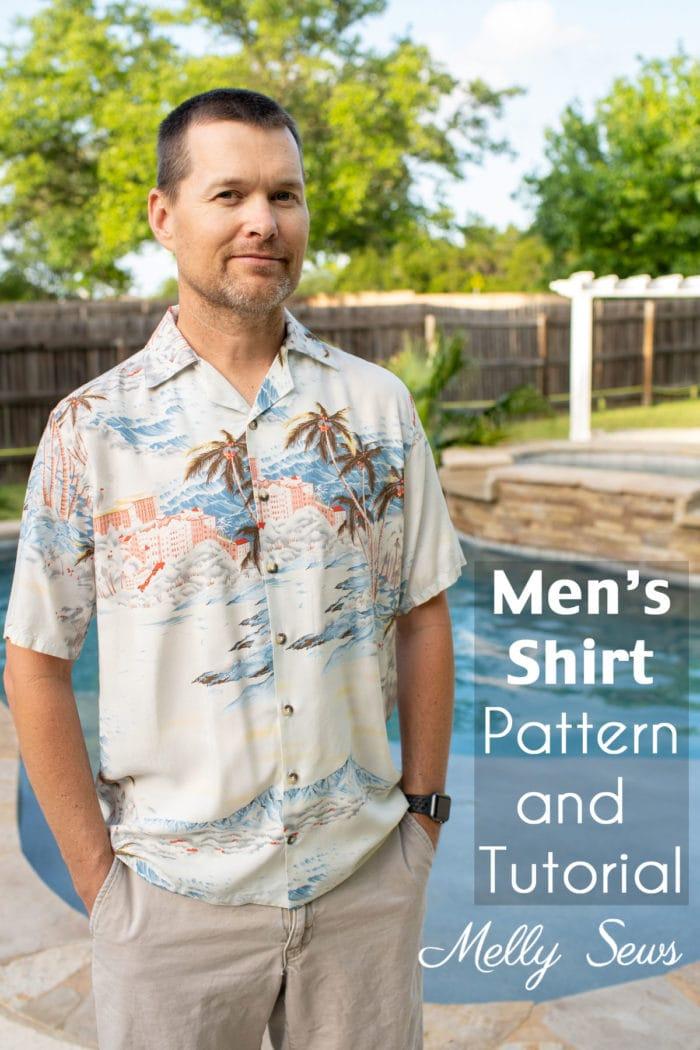 Sew a men's shirt - Man in DIY Hawaiian style shirt