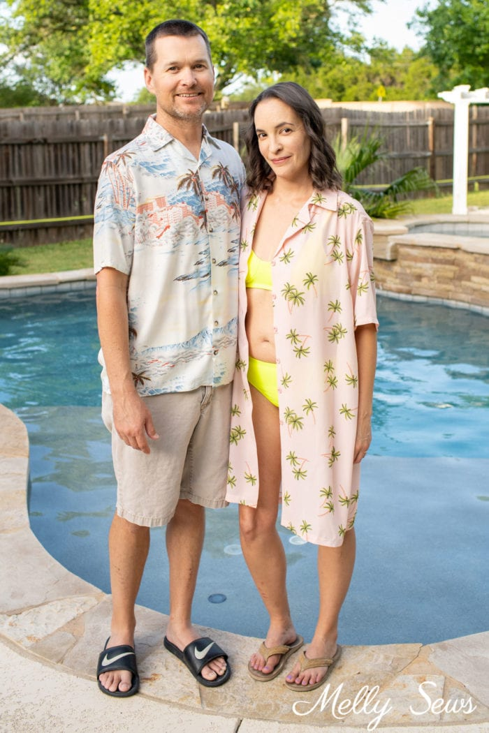 Sew His and Hers Hawaiian Shirts - his in rayon, hers longer in poly crepe palm print as a swimsuit cover