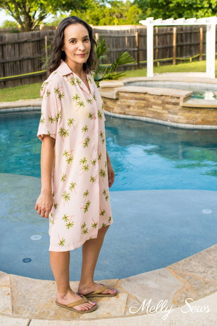 House dress swim cover up - sew a house dress in pink fabric with green palm print
