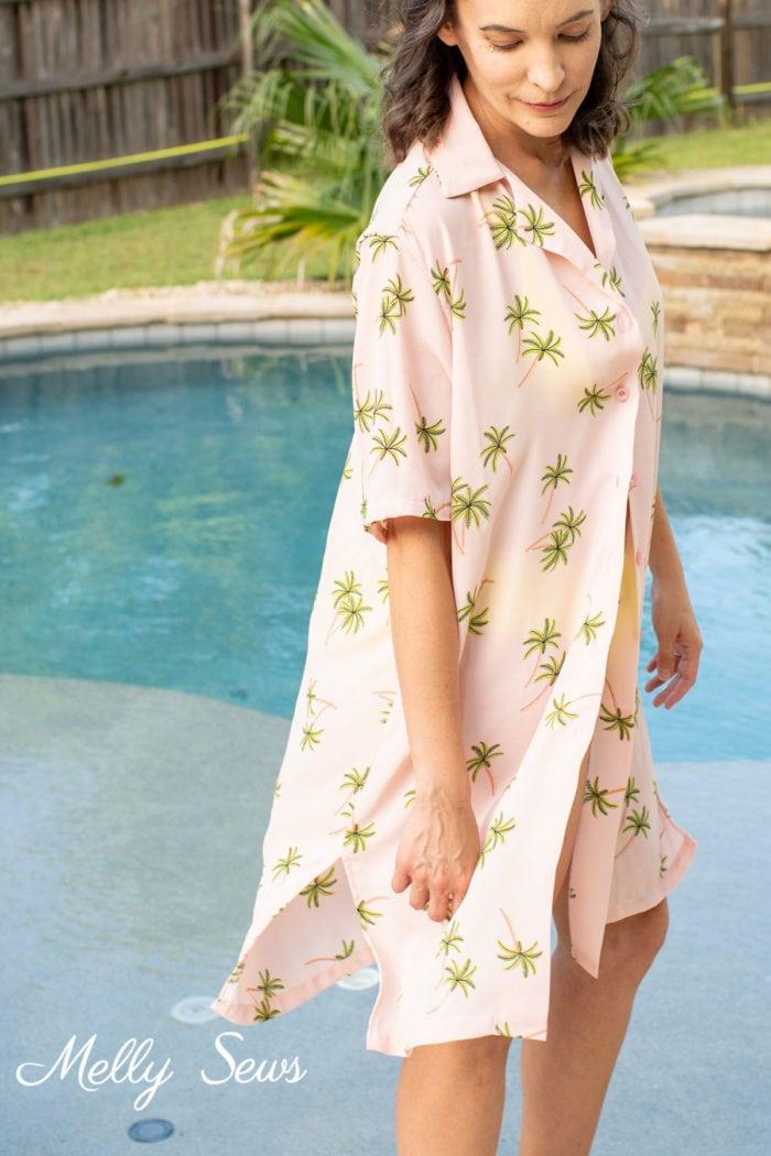Men's shirt as a swim cover - pink and palm tree print shirt