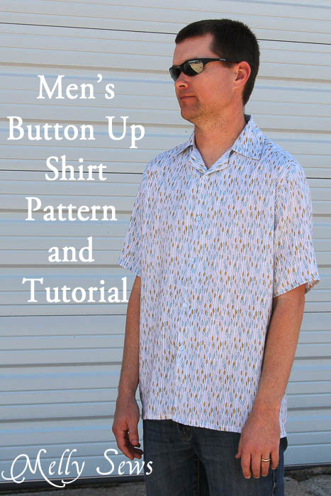 Sew a men's shirt using this free pattern. Pictured is the pattern sewn in a rayon challis blend