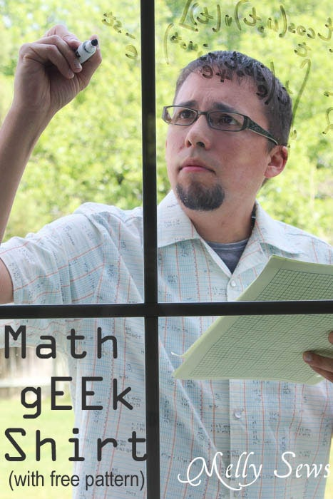 Sew a Men's Shirt - man wearing glasses and writing a math equation on the window in a DIY shirt made in Architextures graphing paper fabric