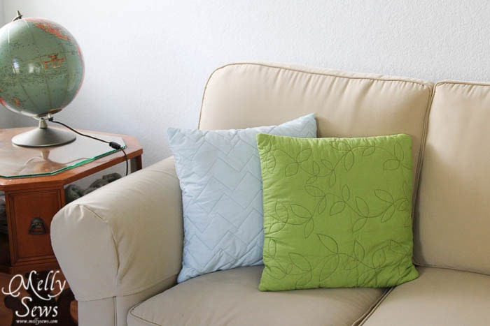 Blue and Green quilted pillows by Melly Sews