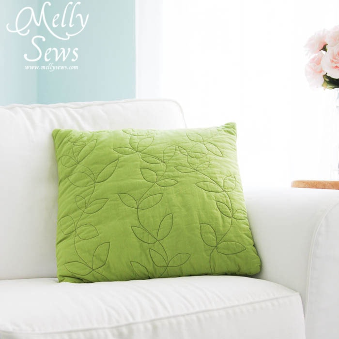 Free hand vines quilted pillow by Melly Sews