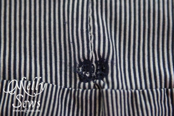 Striped Maxi Sundress Tutorial buttonholes