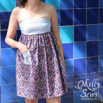 Close Up of Men's Shirt to strapless sundress tutorial - upcycle by Melly Sews for (30) Days of Sundresses