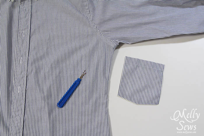 Step 1: Men's Shirt to strapless sundress tutorial - upcycle by Melly Sews for (30) Days of Sundresses