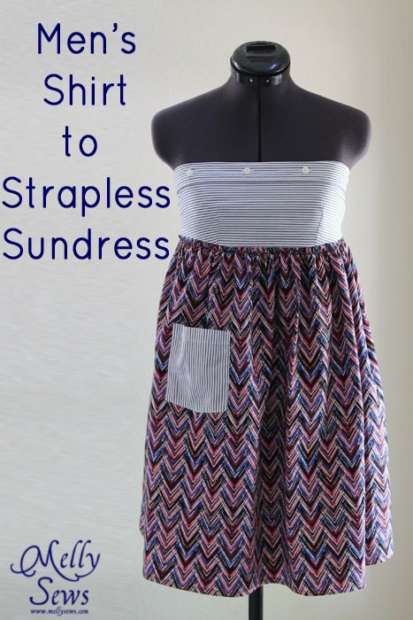 Men's Shirt to strapless sundress tutorial - upcycle by Melly Sews for (30) Days of Sundresses