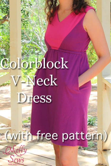 Colorblock V-Neck Sundress Tutorial with free pattern by Melly Sews for (30) Days of Sundresses