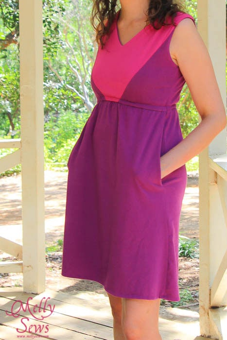 Colorblock V-Neck Sundress Tutorial with free pattern by Melly Sews for (30) Days of Sundresses - with pockets!