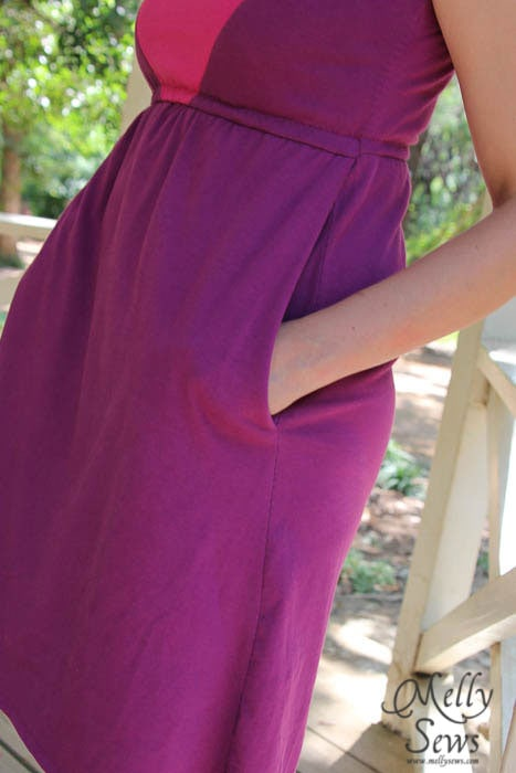 Pockets on Colorblock V-Neck Sundress Tutorial with free pattern by Melly Sews for (30) Days of Sundresses