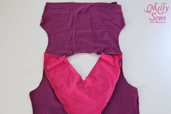 Sew Shoulders of Colorblock V-Neck Sundress Tutorial with free pattern by Melly Sews for (30) Days of Sundresses