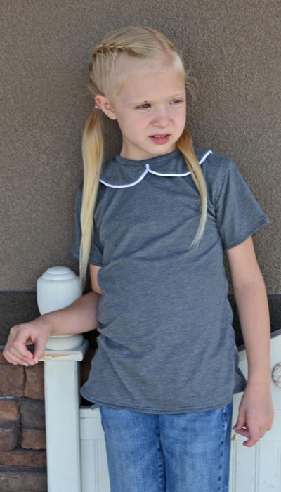 Piped Peter Pan collar version of Tee Times Three PDF Sewing Pattern by Blank Slate Patterns