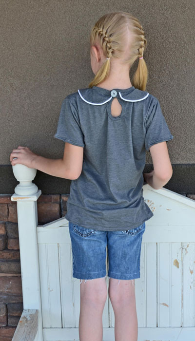 Keyhole back of Tee Times Three PDF Sewing Pattern by Blank Slate Patterns