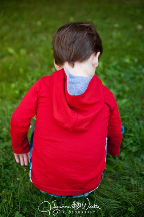Long sleeve hooded version Tee Times Three PDF Sewing Pattern by Blank Slate Patterns sewn by Winter Wonderings, Wanderings and Whatnot