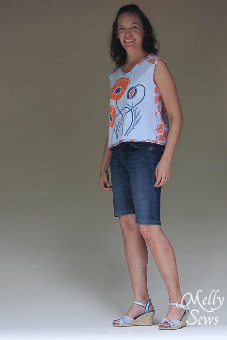 Summer Crossback Top for Summer by Melly Sews featuring Modern Yardage fabric - with free pattern!