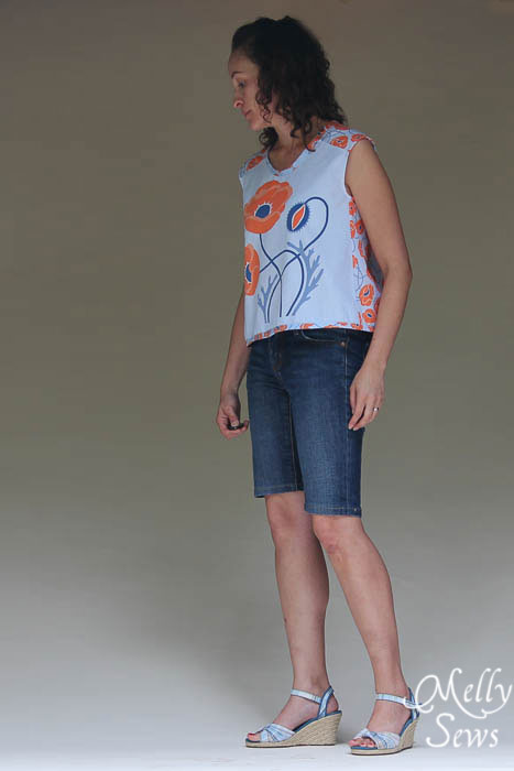 Easy Crossback Top for Summer by Melly Sews featuring Modern Yardage fabric - free pattern!