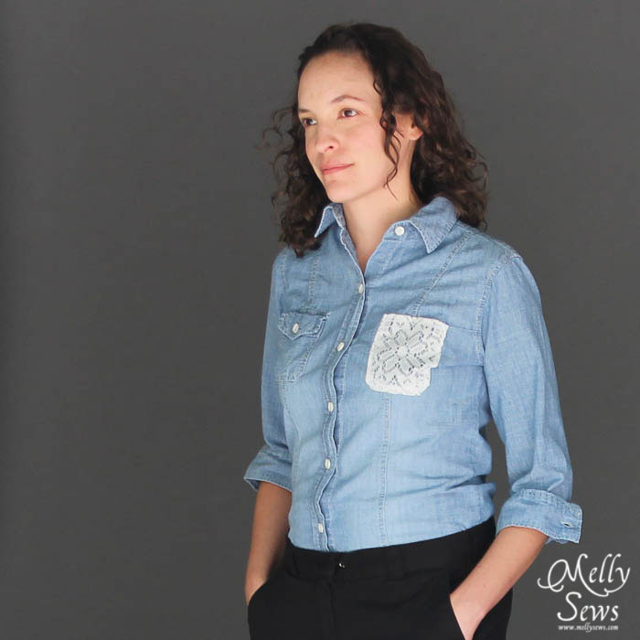 Lace pocket shirt tutorial by Melly Sews