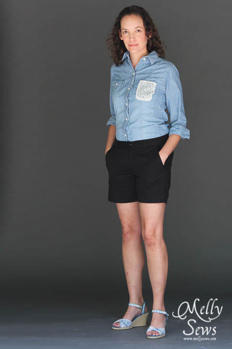Lace pocket shirt upcycle by Melly Sews