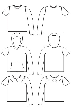Line drawing of Tee Times Three PDF Sewing Pattern by Blank Slate Patterns