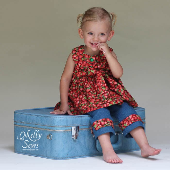 Strawberry girl sewn by Melly Sews from The Cottage Mama patterns
