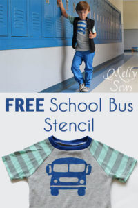 Free stencil printable for this School Bus graphic - Melly Sews