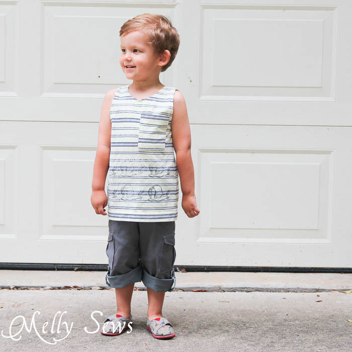 Front view of Coastal Cargos Convertible Pants PDF Sewing Pattern by Blank Slate Patterns