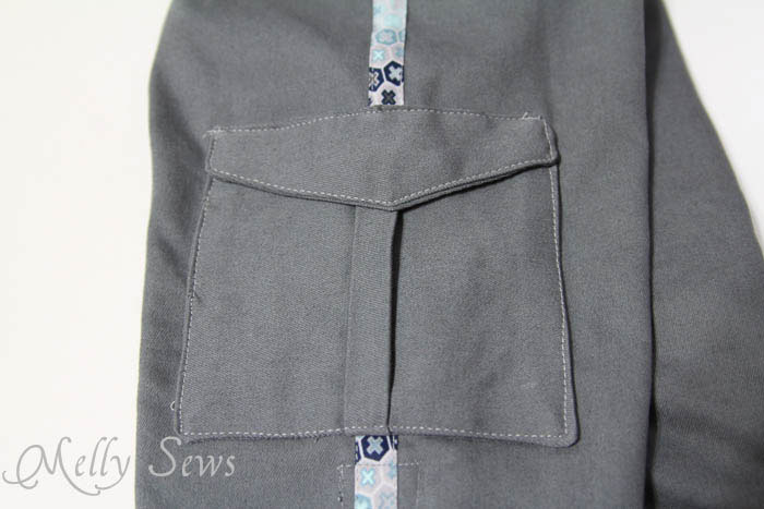 Inverted pleat pocket detail on Coastal Cargos Convertible Pants PDF Sewing Pattern by Blank Slate Patterns