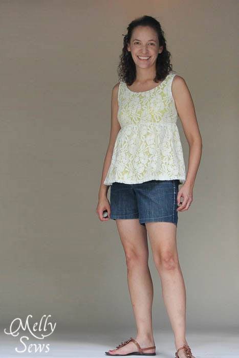Full view Lace Shirt Refashion Tutorial - Melly Sews
